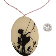 LARGE Silhouette Pendant Necklace: Girl w/Kite on Windy Day