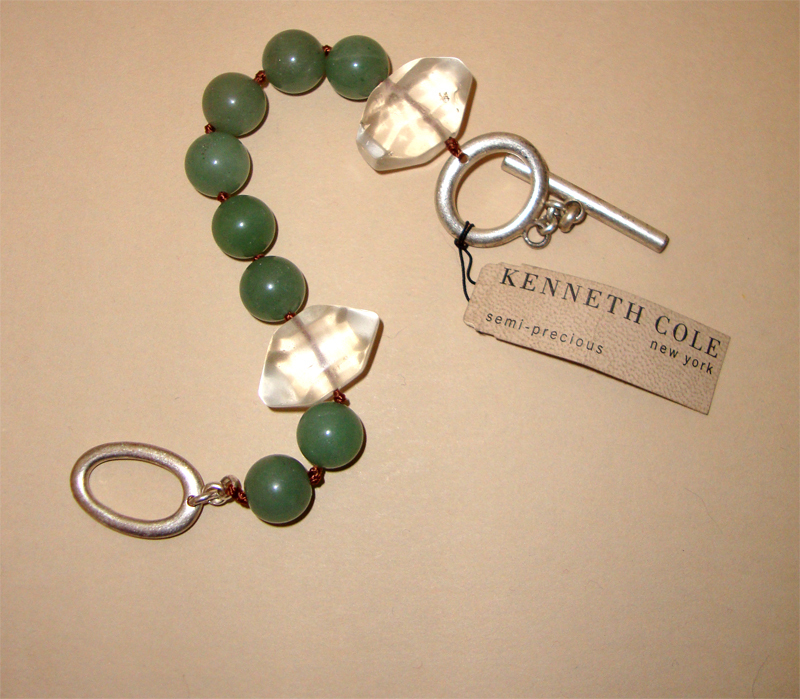 """MWT: KENNETH COLE Jade-Colored & Clear-Glass Bracelet: """"Semi-Precious"""" Tag:  New/Old Stock"""