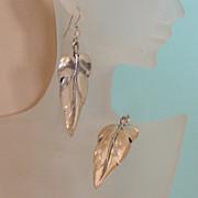 Striking Silvertone Shoulder-Duster Leaf Earrings