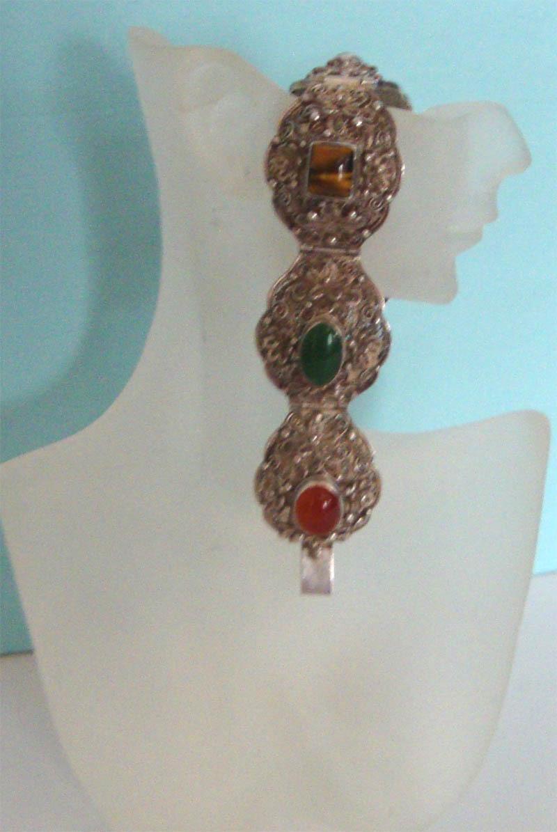 Ornate Silvertone Filigree Bracelet w/Cabochons