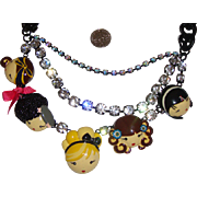 MWT Harajuku Lovers Lady-Face Necklace: New/Old Stock