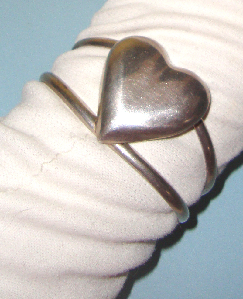 Silvertone Heart Cuff Bracelet: Mexico: Probably Sterling