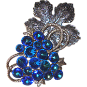 Glorious Electric-Blue Rivoli Grapes Brooch: Huge!