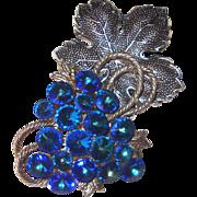 Glorious Electric-Blue Rivoli Grapes Brooch: Huge!