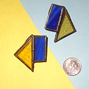 Lapis-Blue & Topaz-Yellow Stained-Glass Earrings:  Prairie Style