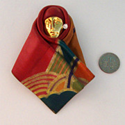 Huge Handmade Lady-Face-in-Hajib Brooch:  Leather: Afro-Centric
