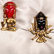 RARE!  Unsigned Selro - Selini Hindu Gods Scatter Pins: Book Pieces: Shiva & Kali