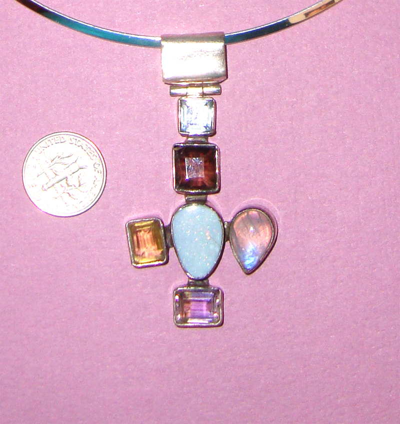 Sterling & Semi-Precious Gems Cross Pendant Necklace:  Large Opal