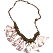 Glass-Like Clear Lucite Dangle Bib Necklace