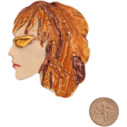 Porcelain FIONA Lady Face Portrait Brooch: Auburn-Haired Beauty