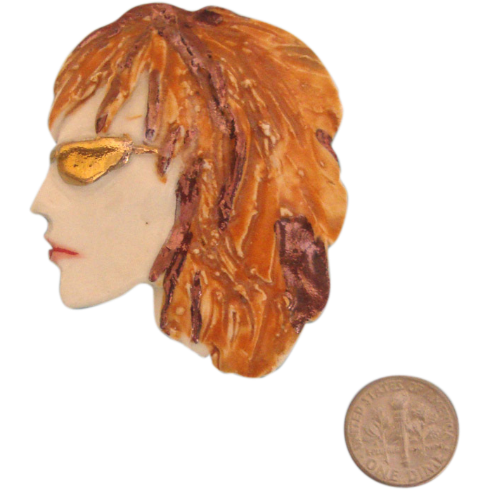 Porcelain FIONA Lady Face Portrait Brooch: Auburn-Haired Beauty