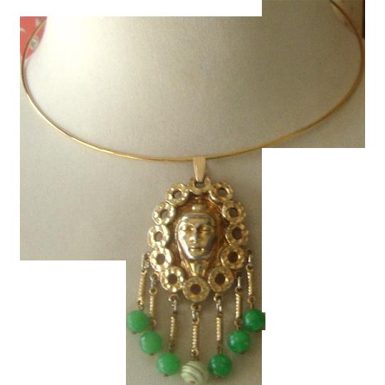 Lovely Lady Face Dangly Pendant Necklace