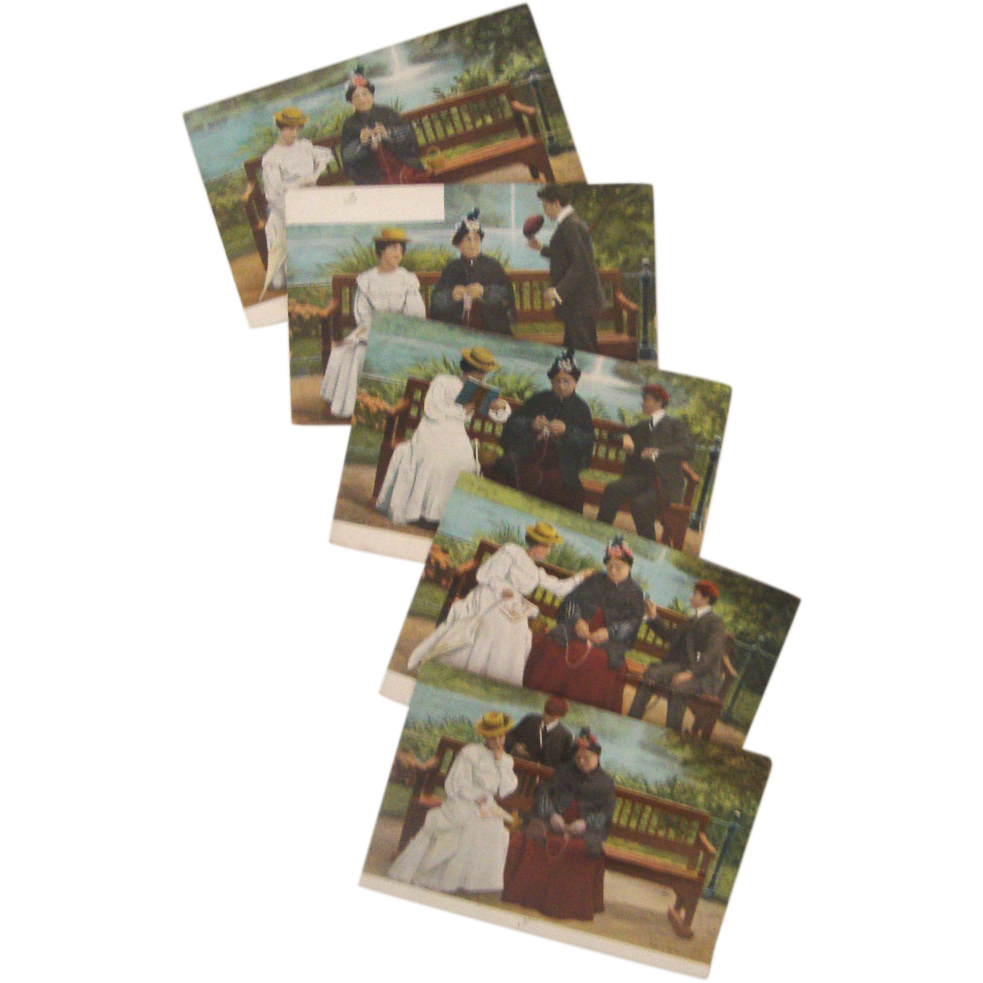 Antique European Postcard Set: No Writing: Young Lady, Duenna, & Suitor