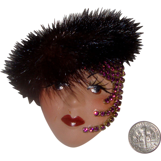 Large Lady Face Brooch w/Real Fur Hat: Handmade