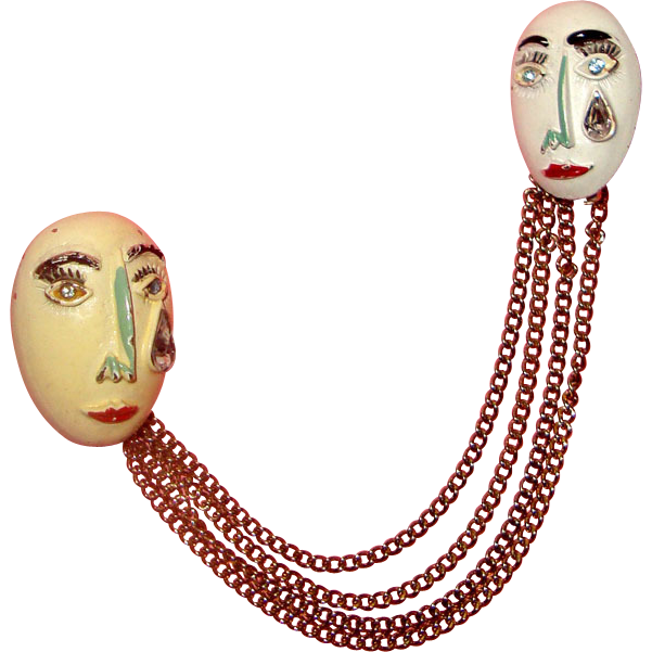 Crying Lady-Face Masks Chatelaine Brooch: Unique!