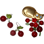 Large Cat & Cherries Demi-Parure:  Brooch & Earrings