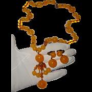 Glass-Like Butterscotch-Yellow Tassel Necklace & Earrings: C. 1940s