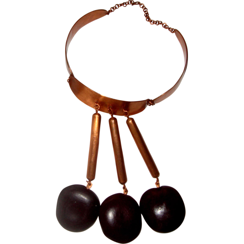 Outré Copper & Wood Collar-Bib Necklace: Huge!