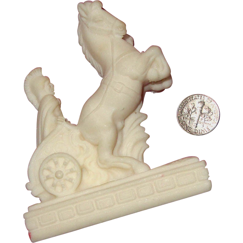 Resinous Roman Soldier Charioteer w/Rearing Horses Statue: Souvenir of Italy