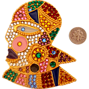 Magnificent Louis Feraud - Bijoux Brooch:  Aviatrix Studded w/Rhinestones: New/Old Stock