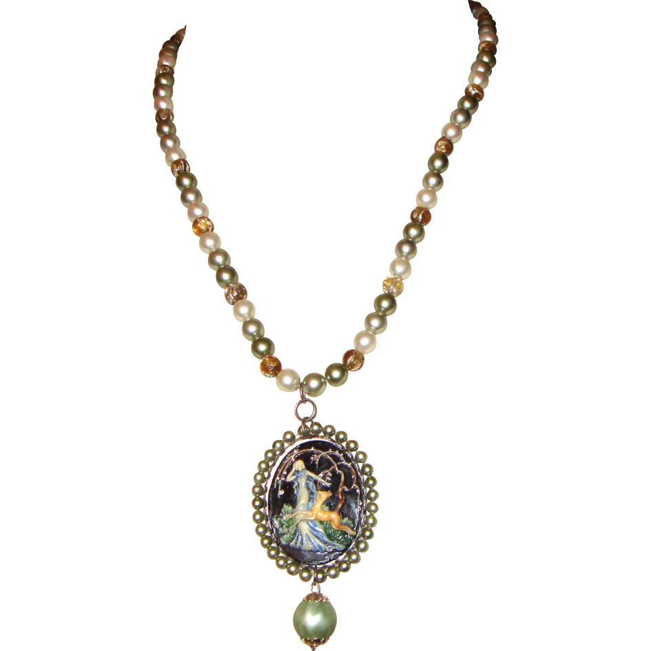 Cameo & Faux-Pearls Necklace:  Diana, Goddess of the Hunt