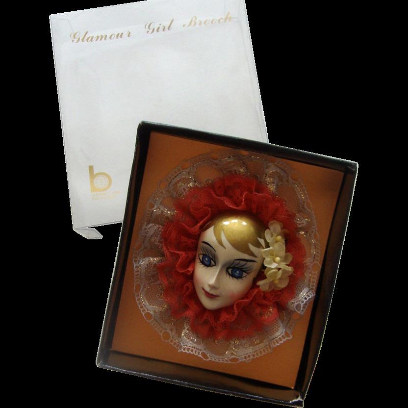 Big Brinn's Lady Face Brooch: Blonde Beauty: Mint in Box