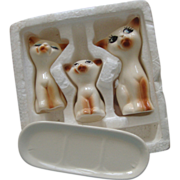 C. Sixties Siamese Cats Salt & Pepper Shakers, Toothpick Holder, Butter Dish: In Orig. Styrofoam: Taiwan