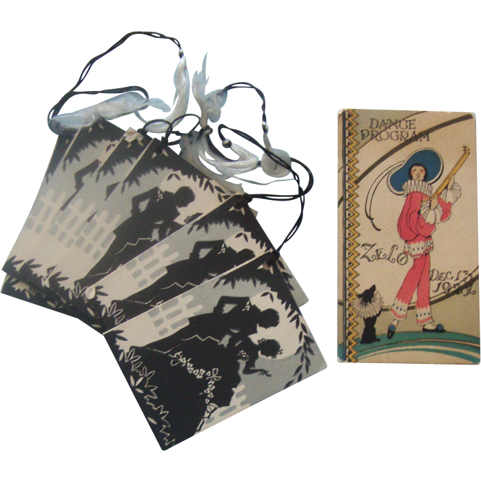1920s Dance Card & 6 Bridge Scorecards: Art Deco