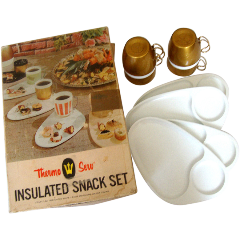 C. 1960s THERMO SERV Snack Set: NIB: Cups & Plates by West Bend