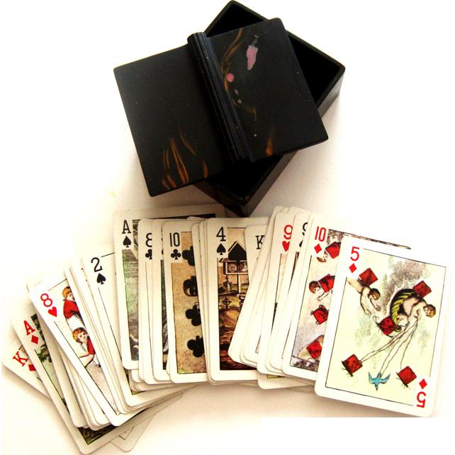 Art Deco Bakelite Box w/Exquisite Playing Cards