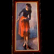 Vintage Moses Soyer Framed Lady Dancer Repro Print: C. 1950s - Red Tag Sale Item