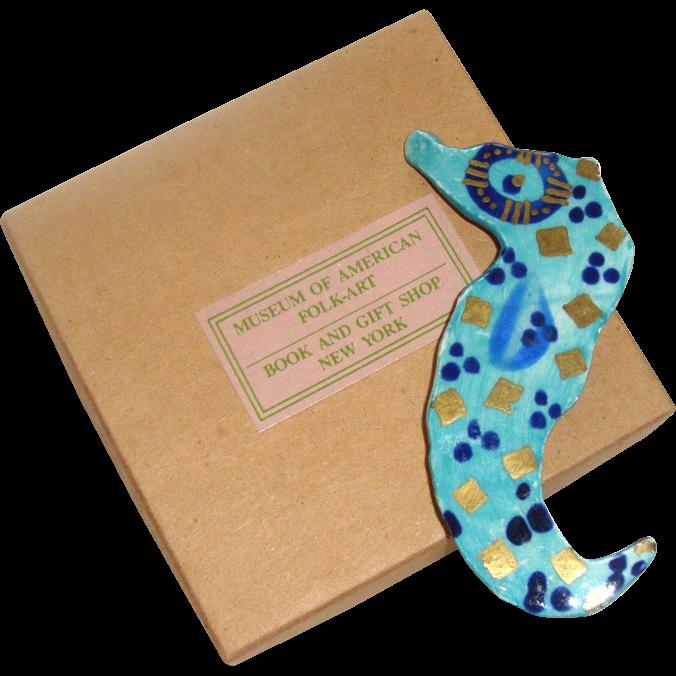 Modernist Ceramic Seahorse Brooch: In Orig. Box: Museum of American Folk Art, NYC