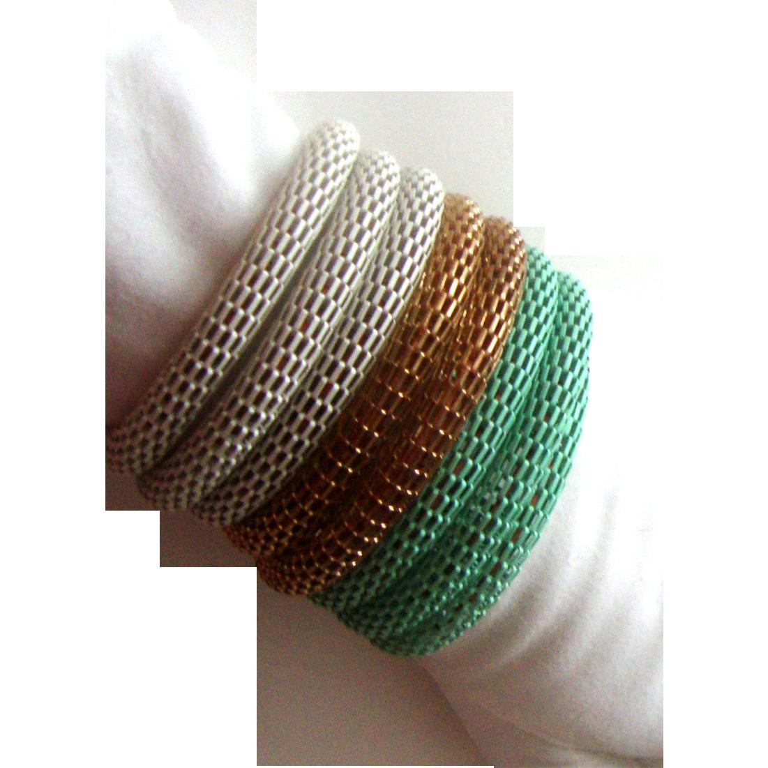 Unique 7-Coil Wraparound Mesh Bracelet: Goldtone, White, Seafoam Green