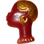 Ceramic African Lady-Face Brooch:  Handmade & Painted