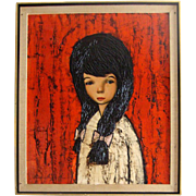 C. 1950s-'60s Original Oil Painting: Sad-Eyed Brunette Girl: Signed