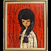 C. 1950s-'60s Original Oil Painting: Sad-Eyed Brunette Girl: Signed - Red Tag Sale Item
