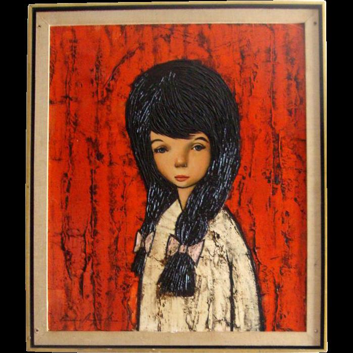 C. 1950s-'60s Original Oil Painting: Sad-Eyed Brunette Girl: Signed