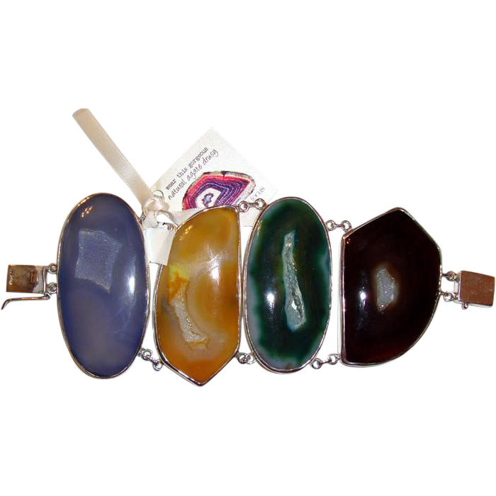 last chance! Huge, Magnificent Agate, Druzy, Sterling Bracelet: MWT: New/Old Stock
