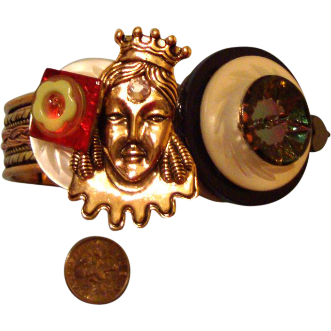 Queen Lady-Face Bracelet:  Royal Arm Candy: Fits Larger Wrists