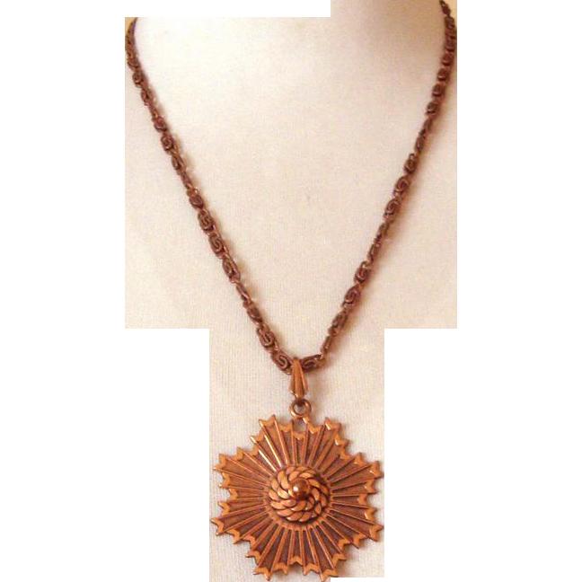 Large Copper Pendant Necklace: Mid-Century