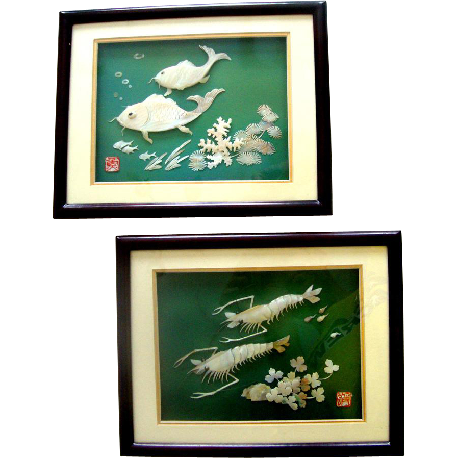 Exquisite Asian Mother-of-Pearl Sea-Dweller Wall-Hanging Duo: Mint in Boxes