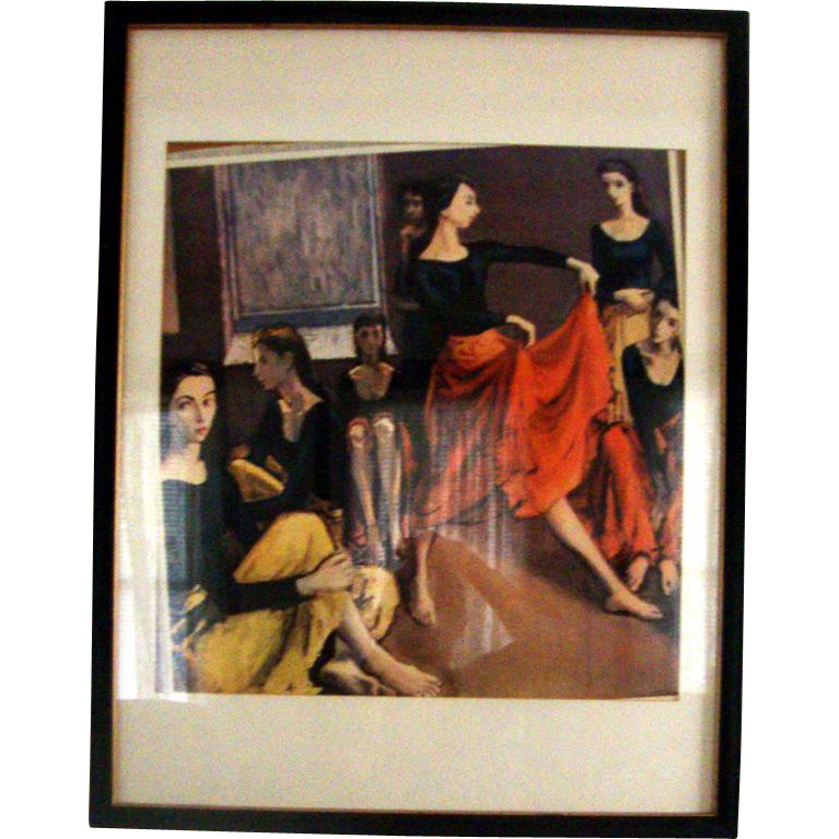 Large Moses Soyer Framed, Matted Dancers Print: Mid-Century
