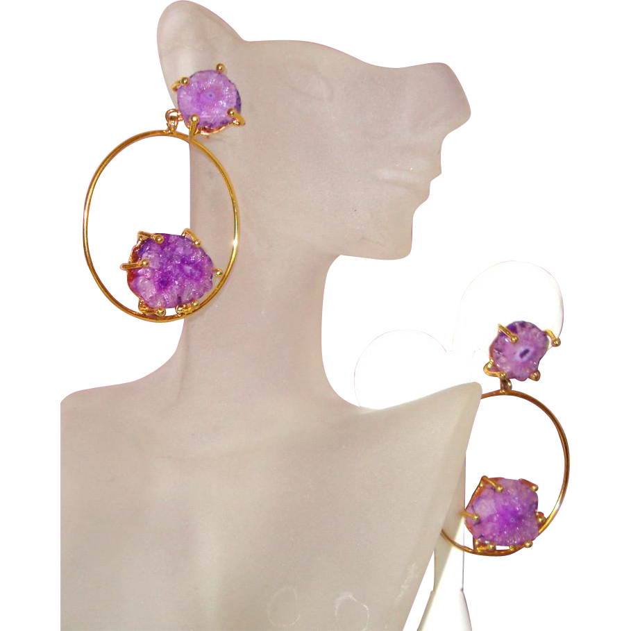 Big Purple Glass-Quartz & Hoop Earrings: New/Old Stock