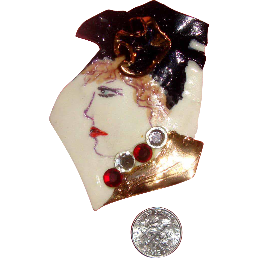 Large OOAK Porcelain 3-D Lady Face Brooch by FIONA