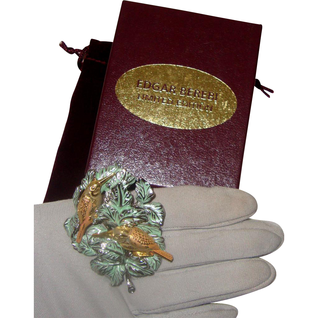 Big Edgar Berebi Brooch: Limited Edition: Birds on Leaves: MIB: First Folio Edition