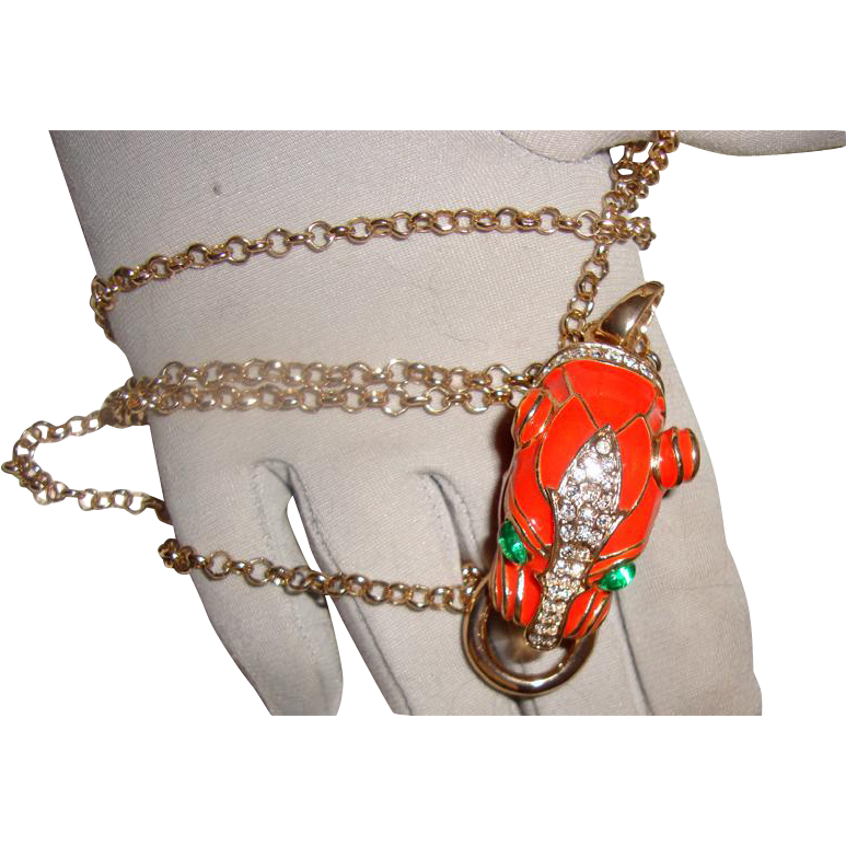 Coral-Colored Panther Face Necklace: New/Old Stock