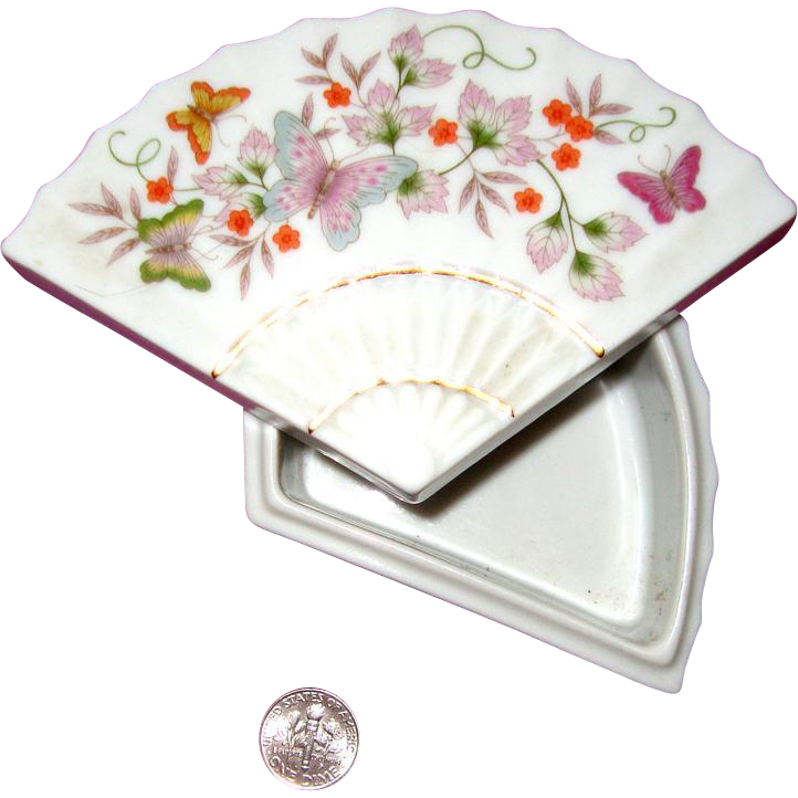 1980 Avon Porcelain Fan-Shaped Trinket Box: Butterflies: Asian - Oriental Style