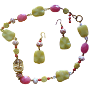 Gorgeous Glass-Beads & Faux-Ivory Asian-Face Necklace & Earrings