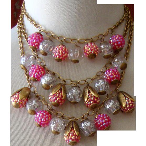 Gorgeous Glass & Aurora-Borealis Bib Necklace: Lenora Dame: Old/New Stock