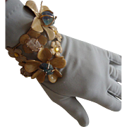 BIG Wraparound Cuff Bracelet: Blossoms w/Glass Faux-Quartz Stones